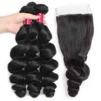 Sweetie Brazilian Loose Wave Hair 3 Bundles With 4x4 Lace Closure - ExcellentVirginHair