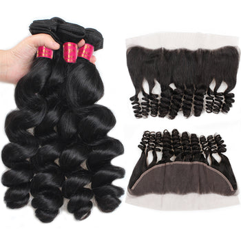 Sweetie Indian Loose Wave Virgin Hair 3 Bundles with 13x4 Lace Frontal Closure - ExcellentVirginHair