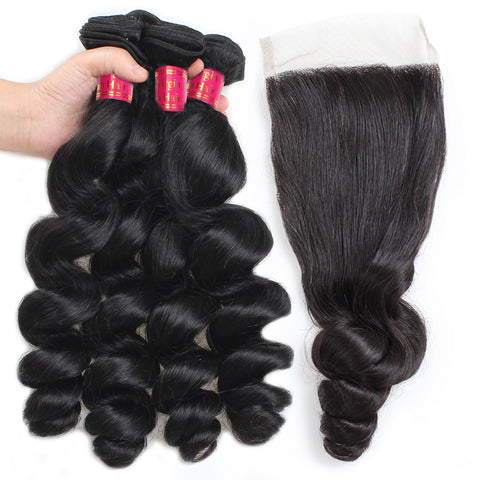Sweetie Peruvian Loose Wave Hair 4 Bundles With Lace Closure
