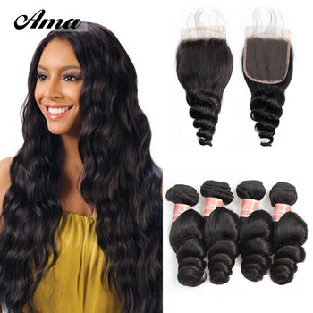 Ama Peruvian Loose Wave Hair 4 Bundles with Lace Closure - ExcellentVirginHair