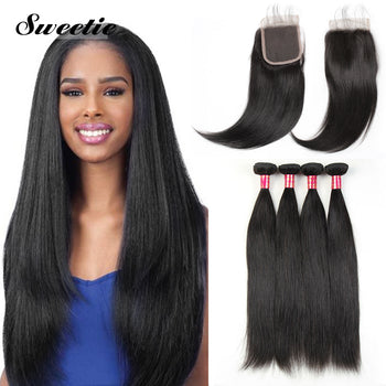 Sweetie Peruvian Straight Virgin Hair 3 Bundles With 13x4 Lace Frontal