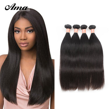 Ama Peruvian Straight Remy Hair Extensions 4 Bundles - ExcellentVirginHair