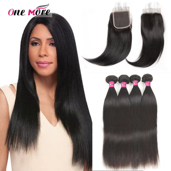 Peruvian Straight Hair 4 Bundles With Lace Closure - ExcellentVirginHair