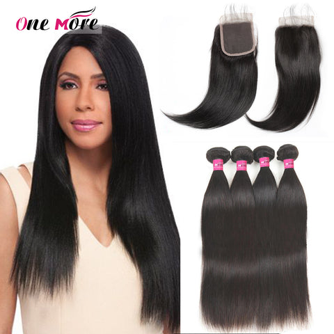 Peruvian Straight Hair 4 Bundles With Lace Closure