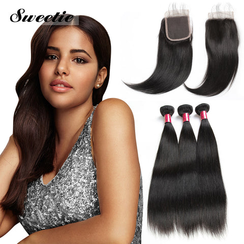 Peruvian Straight Hair 3 Bundles With 4x4 Lace Closure