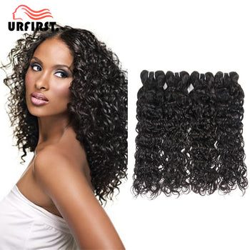 "Urfirst Brazilian Water Wave Grade 8A 8""-28"" 4 Bundles Natural Black Virgin Hair Weave"