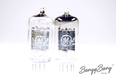 2 Vintage 12AU7 / ECC82 General Electric Black Plate D Getter Premium Audio Tube - BangyBang Tubes