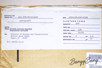 Factory Sealed Military Box 200 pcs General Electric 6J6A / ECC91 Vintage Audio Tubes - BangyBang Tubes