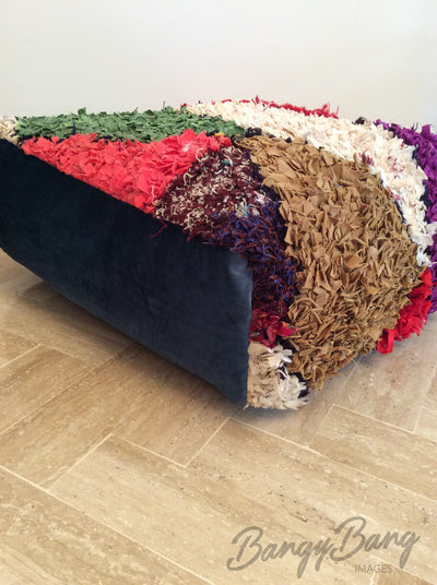 Handmade Moroccan Rag Rug Pouf Ottoman Floor Pillow 22inch x 22 inch x 9inch