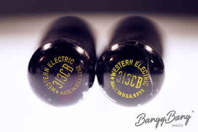 Vintage Pair of Matched 313CB Western Electric Black Glass Premium Power Tube - BangyBang Tubes