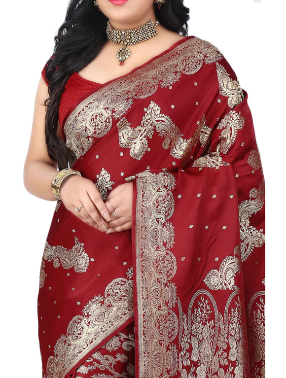 BENA LE Pure Maroon Satin Silk for Women - Banarasi Saree