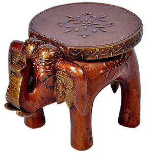 Home Decor Handicrafts | Home decor | Home Decorative Items in Living Room, Bedroom | Designer Wooden Elephant Stool Handicraft Gift 101