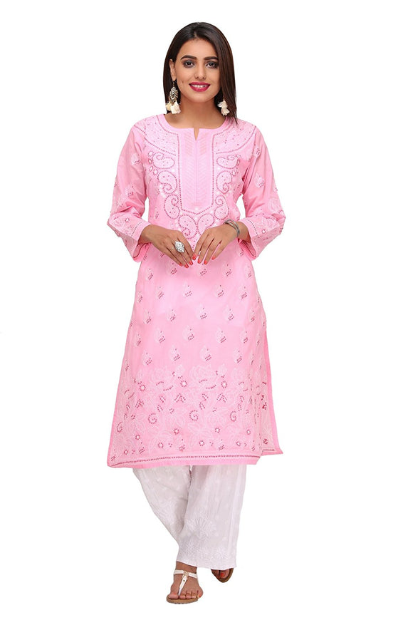 NAAZ Handmade Kurti - Lucknow Chikan - Regular Fit- Womens Cotton