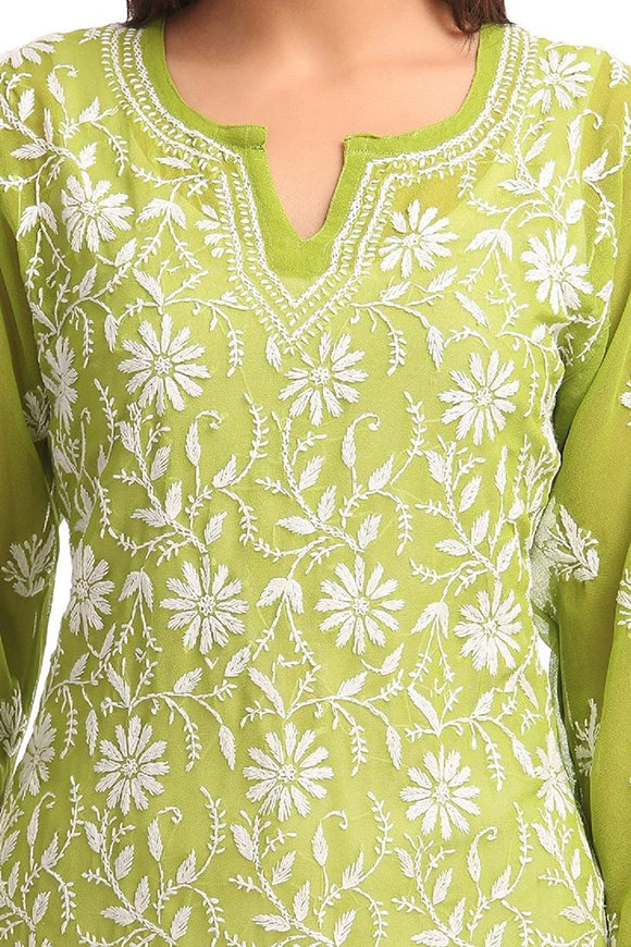 NAAZ Handmade Kurti - Lucknow Chikan - Regular Wear - Ethnic Faux Georgette