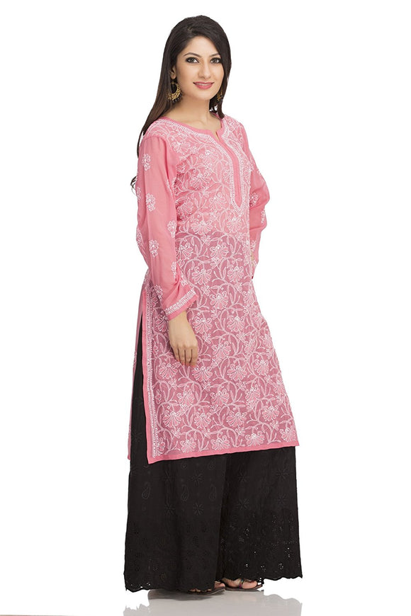 NAAZ Lucknow Chikan Kurta - Hand Embroidered - Regular Fit - Faux Georgette