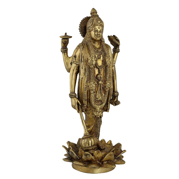 Vishnu Brass Statue - Hindu Spiritual Art - Home Sculptures - Brass