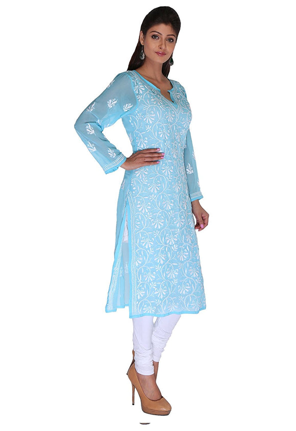 NAAZ Lucknow Chikan Regular Wear - Needlecraft - Faux Georgette Kurti