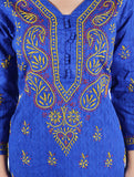 MALIBA Lucknowi Chikankari Kurtas For Women - Blue Embroidery Kurti