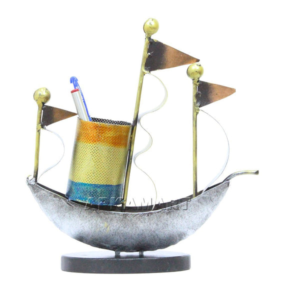 PIXEL Handcrafted Pen Holder - Boat Design- Utility Article for Table Decor and Gifts