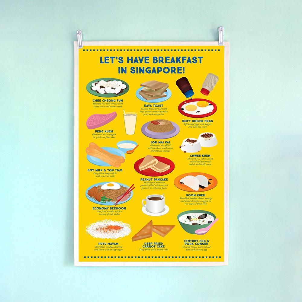 Tea Towel - Let's Have Breakfast In Singapore - HYGGE