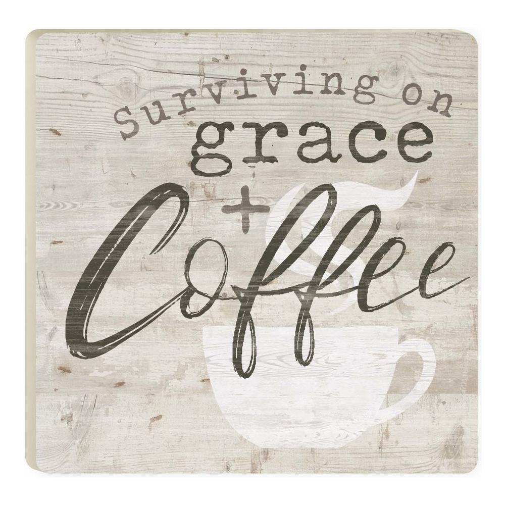 Surviving on Grace + Coffee Coaster - HYGGE