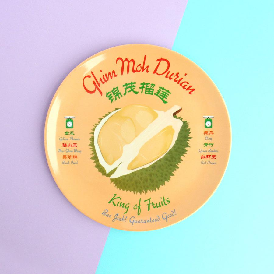 8 Inch Plate - Ghim Moh Durian - HYGGE