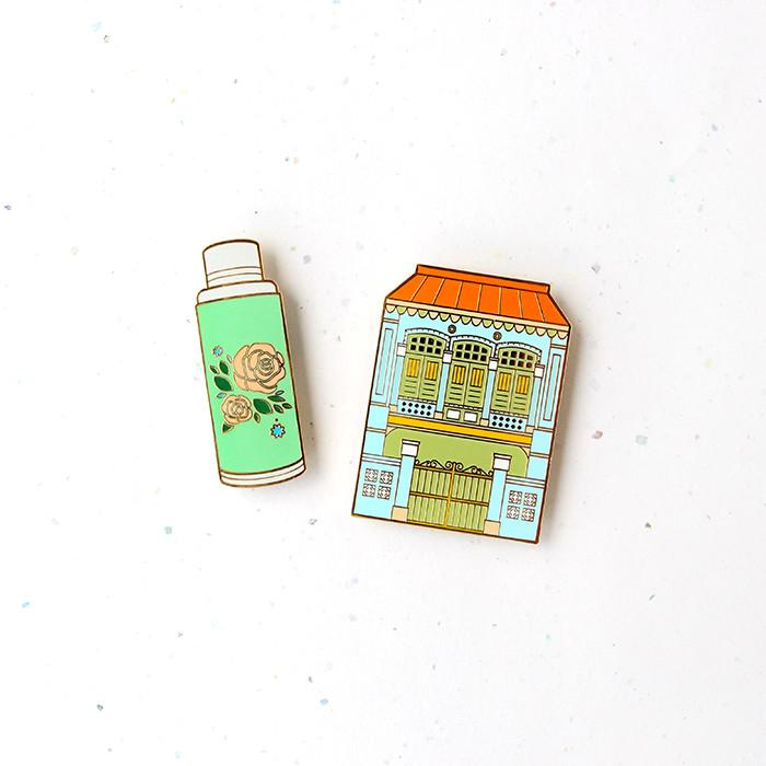 Treasures Of Singapore Magnet - Shophouse & Flask - HYGGE
