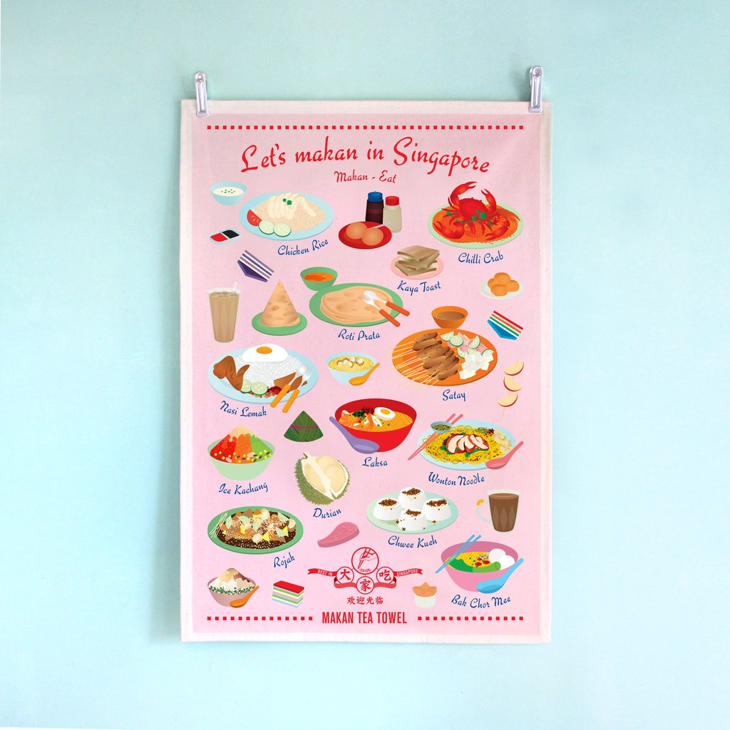 Tea Towel - Let's Makan In Singapore - HYGGE