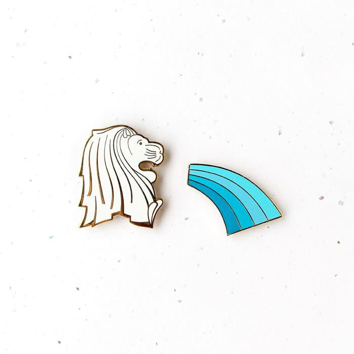Treasures Of Singapore Magnet - Merlion & Water Spout - HYGGE