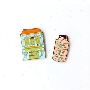 Treasures Of Singapore Magnet - Shophouse & Tiffin Carrier - HYGGE