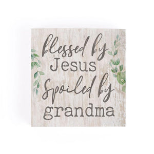 Blessed By Jesus Spoiled By Grandma Word Block - HYGGE