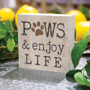 Paws And Enjoy Life Word Block - HYGGE
