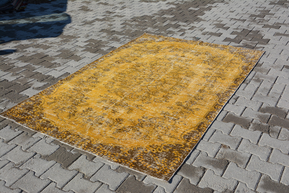 Vintage Overdyed Rug, Terracotta Distressed Rug, Recolored Rug, Gold Floral Rug, Yellow Overdyed Carpet, Door Mat Rug,  7.7x5.4 Feet AG267