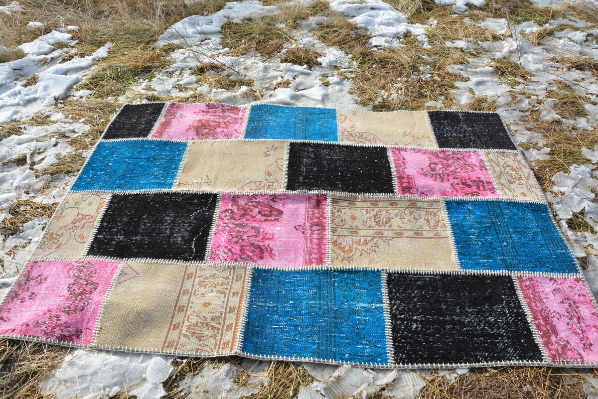 Oriental Patchwork Rug, Turkish Carpet, Floor Rug, Anatolian Rug, Rug Vintage Patchwork, Wool Rug, Decorative Rug,  7.2 x 5.2 Ft AG161