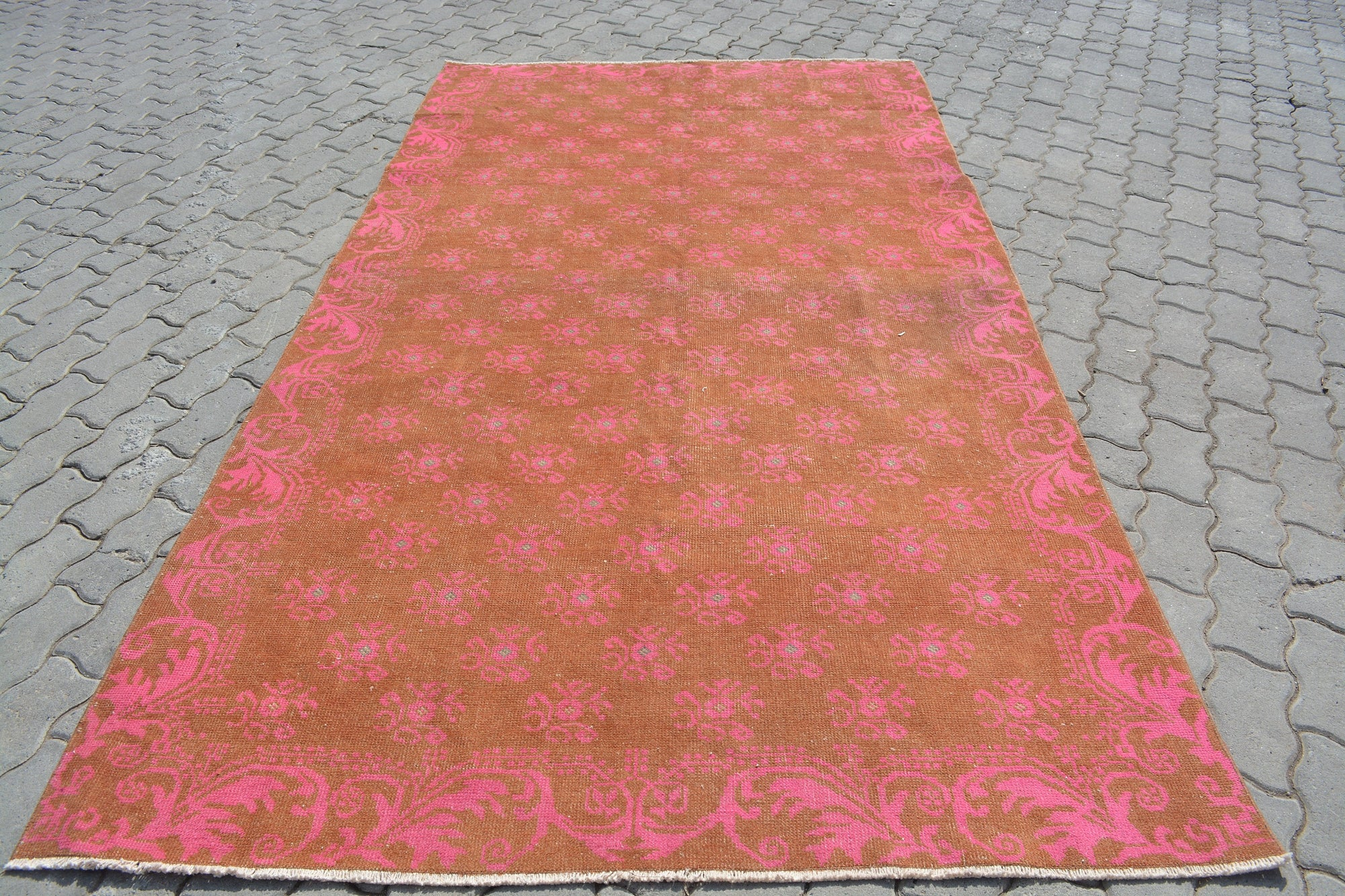 Rug 5x9,  Runner Rug, Orange Rug, Christmas Rug, Bathroom Rug,  Accent Rug, Mini Rug, Medallion Rug, 5x9 Rug, Pink Rug, 5.1x9.5 Ft AG320