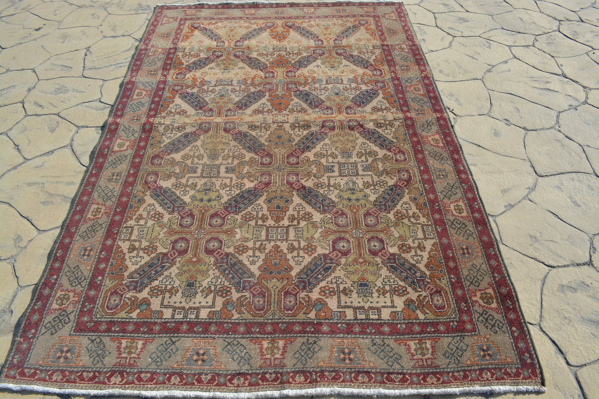 Turkish Carpet Floor Rugs, Modern Rug, Home Living, Beige Woven Rug, Home Decoration  Floor Rugs, Oushak Turkish Rugs, 4.5x7.2 Feet AG381