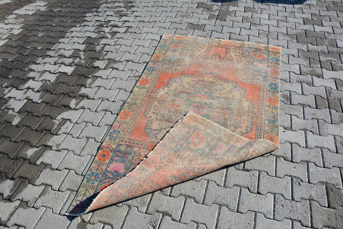Oushak Rug Turkish Rugs Anatolian Rug Vintage Rug Handmade Rug Area Rug Overdyed Rug Distressed Rug Shabby Chic Unique 6.7 x 3.9 Feet AG203