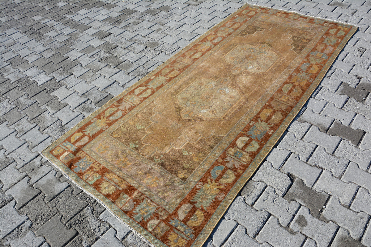 Turkey Rug, Oushak Rustic Rug, Turkish Boho Rugs, Carpet Rug, Runner Rugs, Anatolia Rug, Small Turkish Rug, Nomadic Rug, 8.7 x 4 Feet AG204