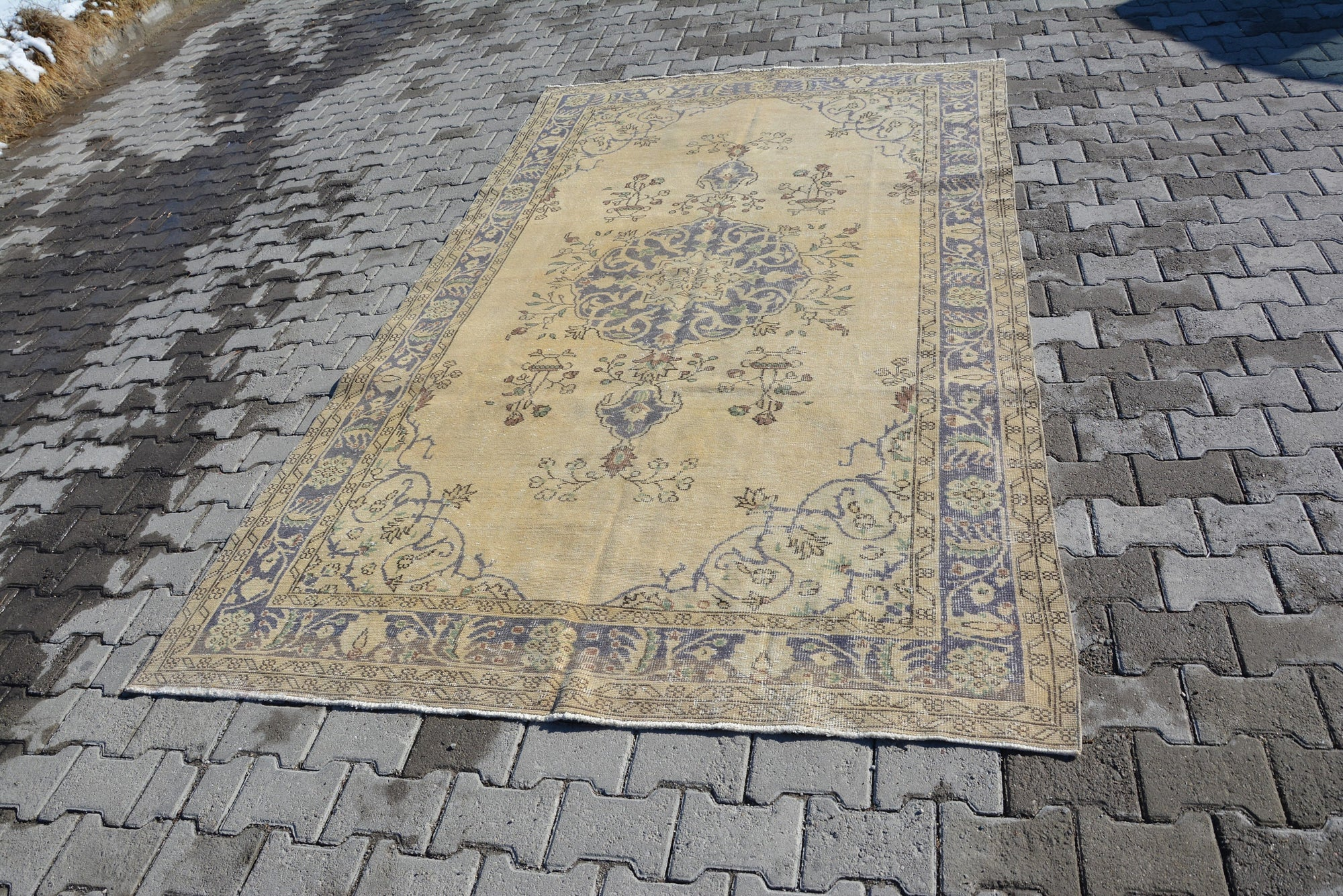 Muted Colors Rug, Handmade Rugs, Muted Rugs, Bohemian Rugs, Area Rugs, , Small Oushak Design Rug, Floor Vintage Rug, 9.9 x 5.8 Feet AG211