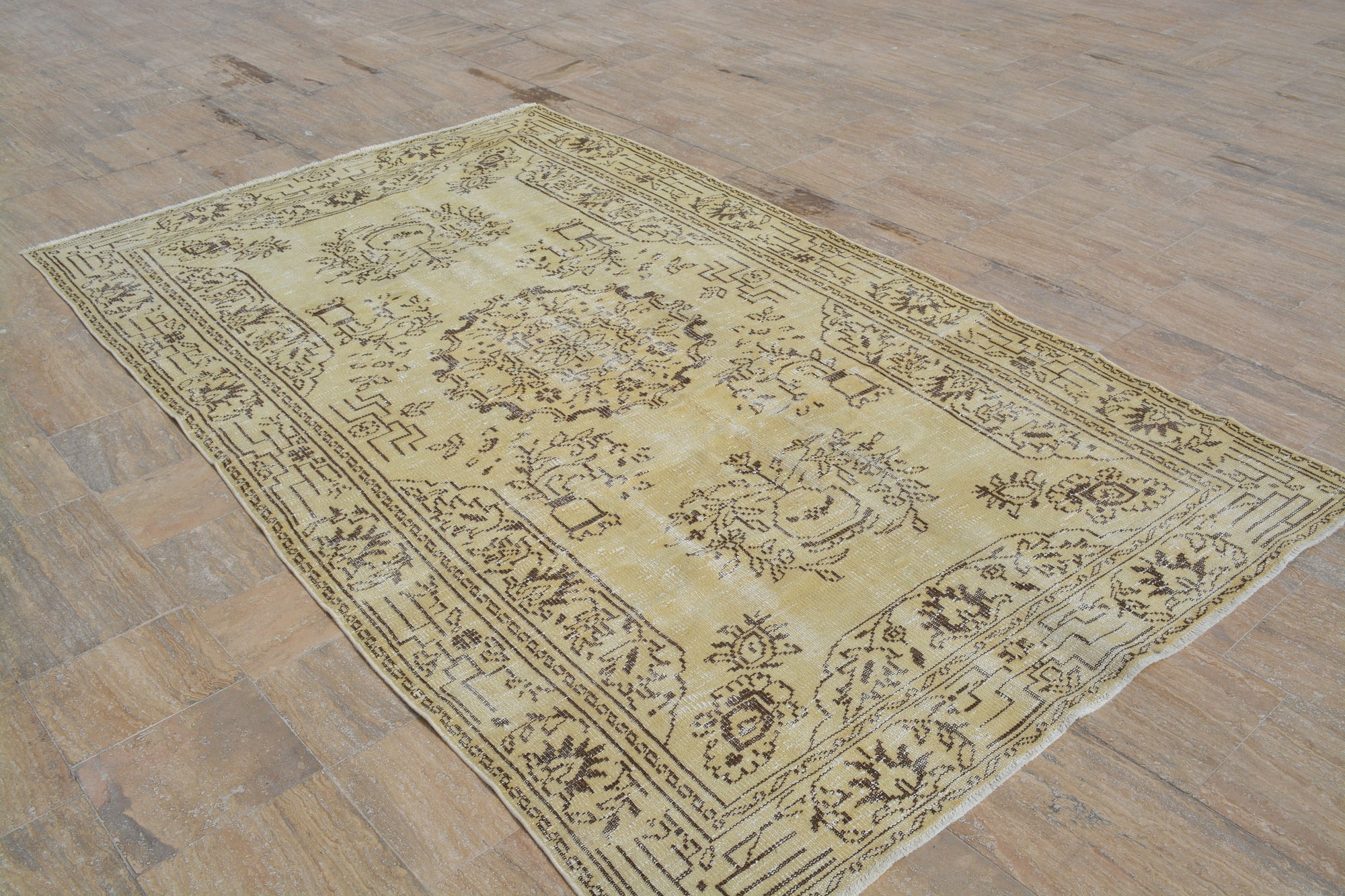 Yellow Turkish  Oriental Rug, Antique Oushak  Rug, Area rug, Vintage Rugs, Oushak Area rug, Boho  Oriental rug, 5.6x9.6 Feet AG440