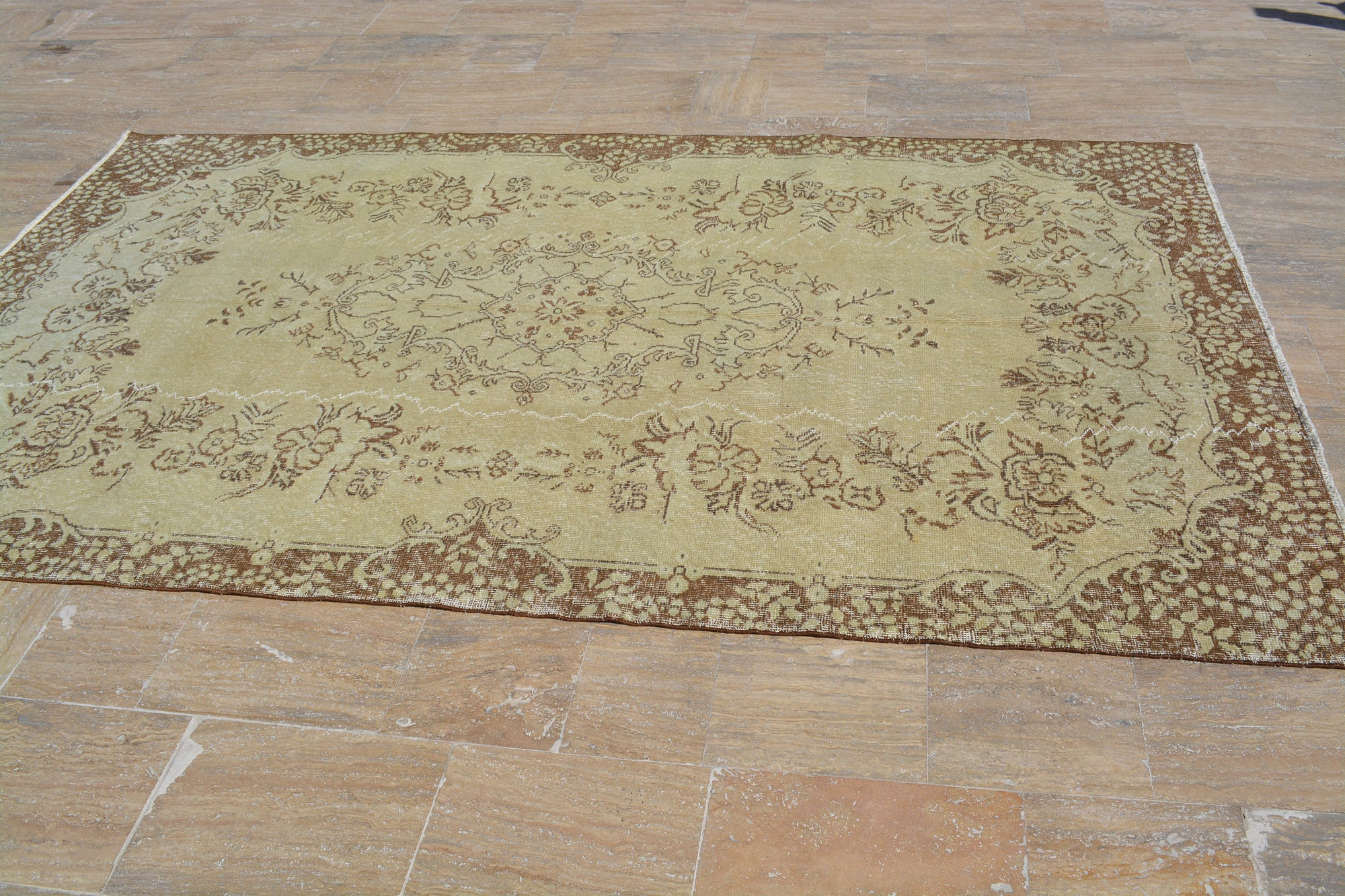 Turkish Rugs Yellow, Antique Oushak Rug, Brown Area rug, Vintage Turkish carpet, Small rug, Oriental rug, 5.6x9.3 Ft AG517