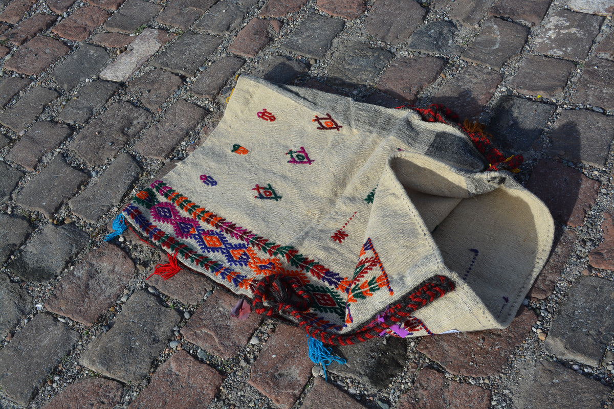 Oriental storage sack, Ersari chuval, Turkmen chuval, Turkish kilim rugs, Yomud chuval, Turkish bag pillows, Kilim pillows, 2.2x3.2 Ft AG576