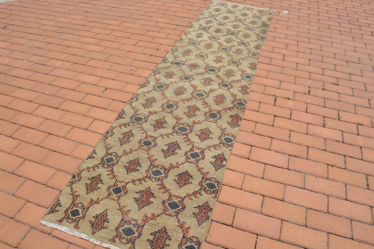 Turkish Rug, Corridor Rug, Hand knotted Rug, Natural Rug, Brown Vintage Rug, Vintage, Small Rug, Oriental Rug, Antique Rug, 2.3x9.5 Ft AG664