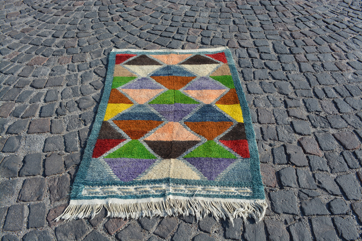 Rainbow Rugs, Oushak Turkish Rugs, Handmade Rug, Decorative Rug, Small Rug, Boho Rug, Kilim Rug, Vintage Pile Rug, 3.4X4.7 Ft AG795