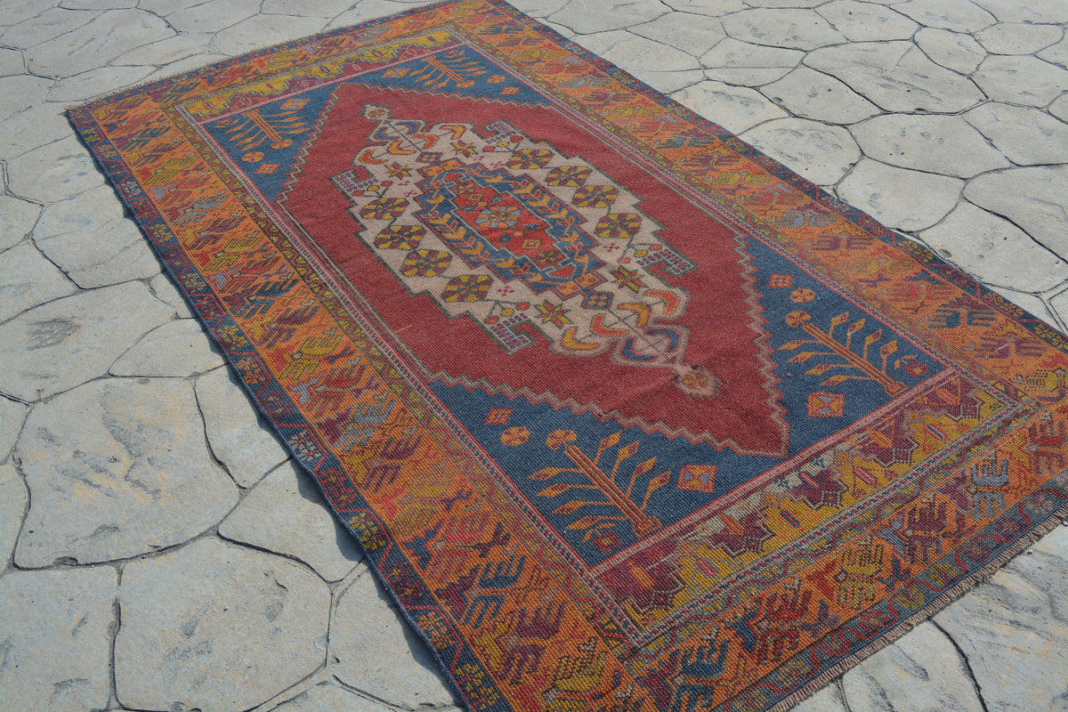 Area Anatolian Rug, Pastel Persian Style Rug, Gift For Her, Turkish Rug 4x7,  4.1X7.4 Ft AG828