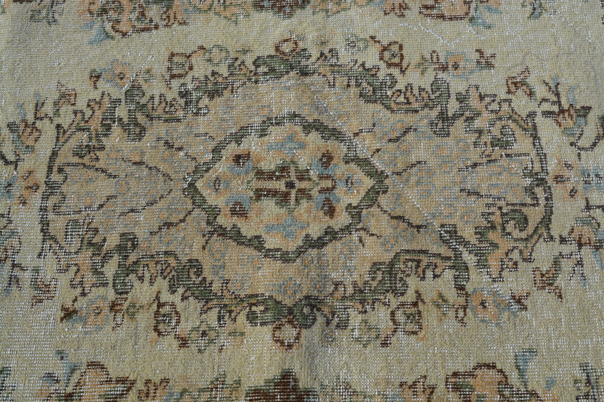 Vintage Rug, Tribal Rugs,  Turkish Beige Rug, Large Wool Rug, Beni Ourain Rug,  4X6.9 Ft AG846
