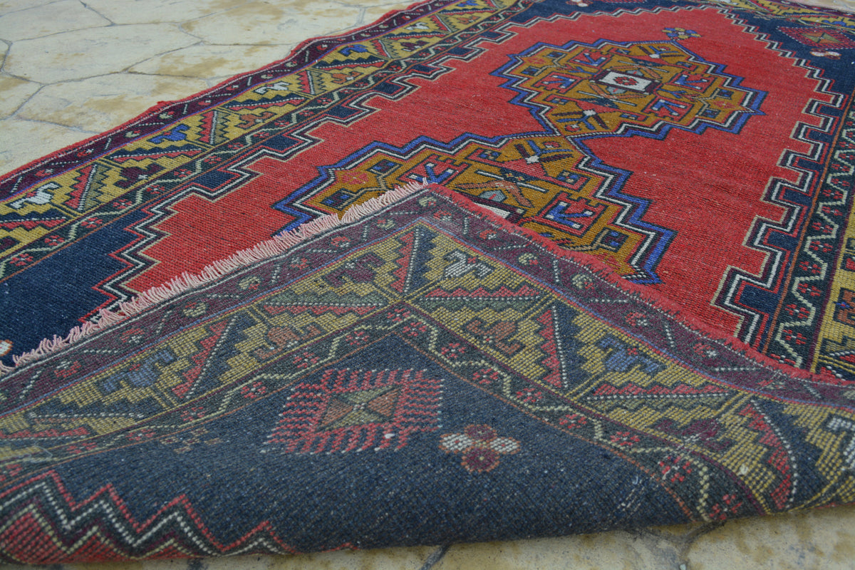 Knotted Tapijt, Alfombra Tapis Medium Carpet, Vintage Antique Tribal Persian Rug,  3.7 x 7  Feet AG989