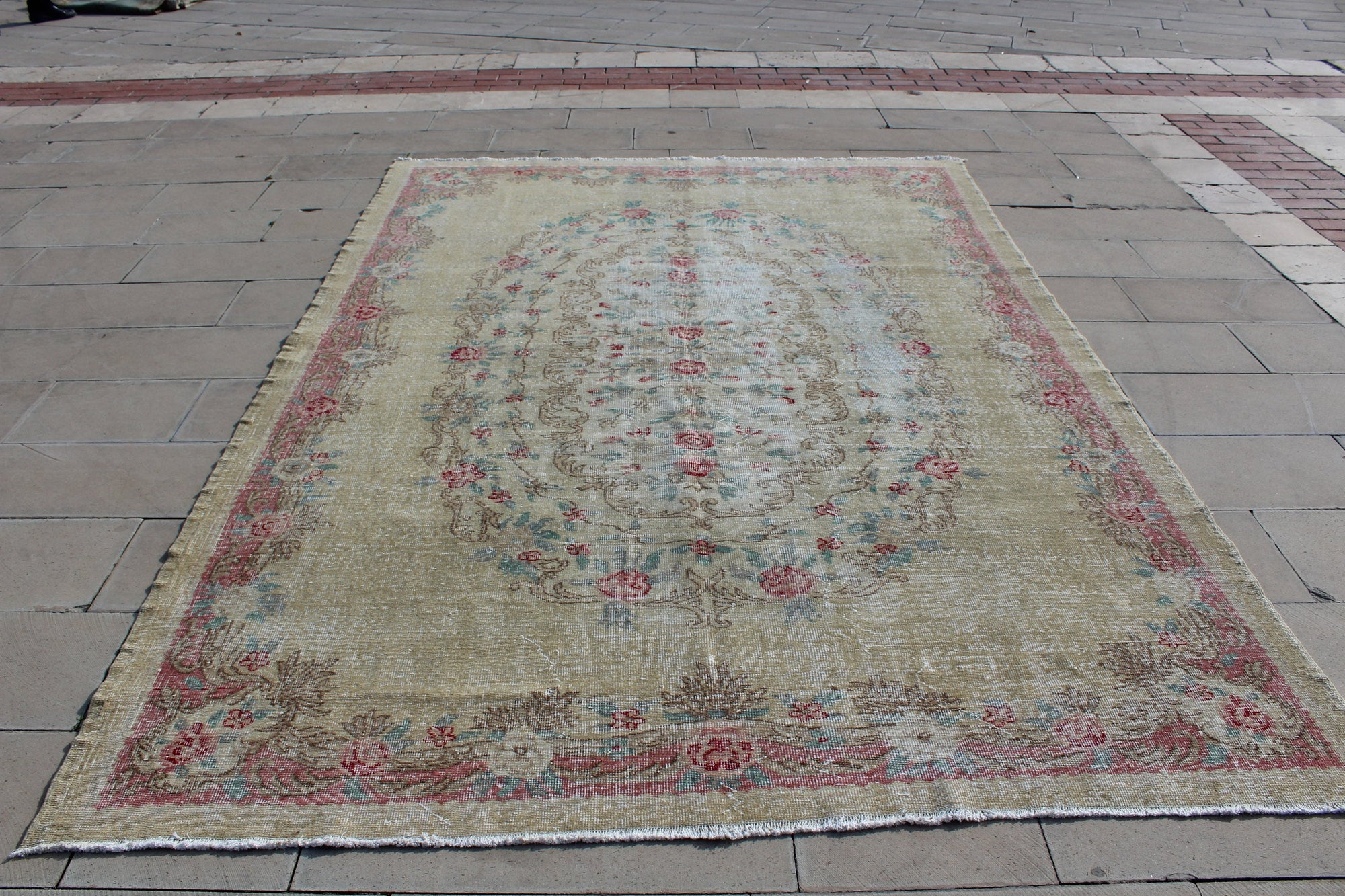 Turkey Rug, Beige Oushak Turkish Antique Floral Rug, Vintage Oushak Handwoven Area Rugs,  7X9.9 Feet  AG868