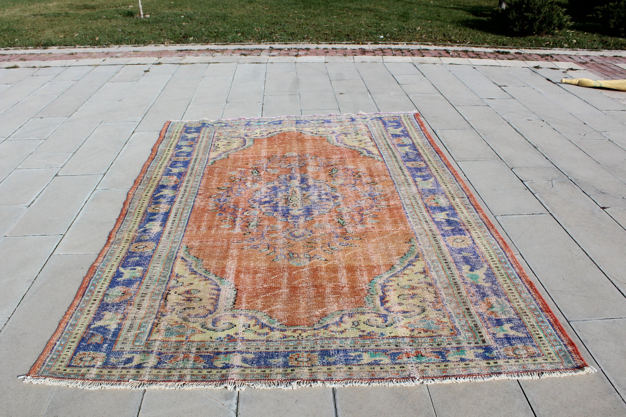 Turkey Rug, Turkish Oushak Rug, Handwoven Boho Blue Rug, Traditional Antique Oriental , 6 x 8.6  Feet AG969