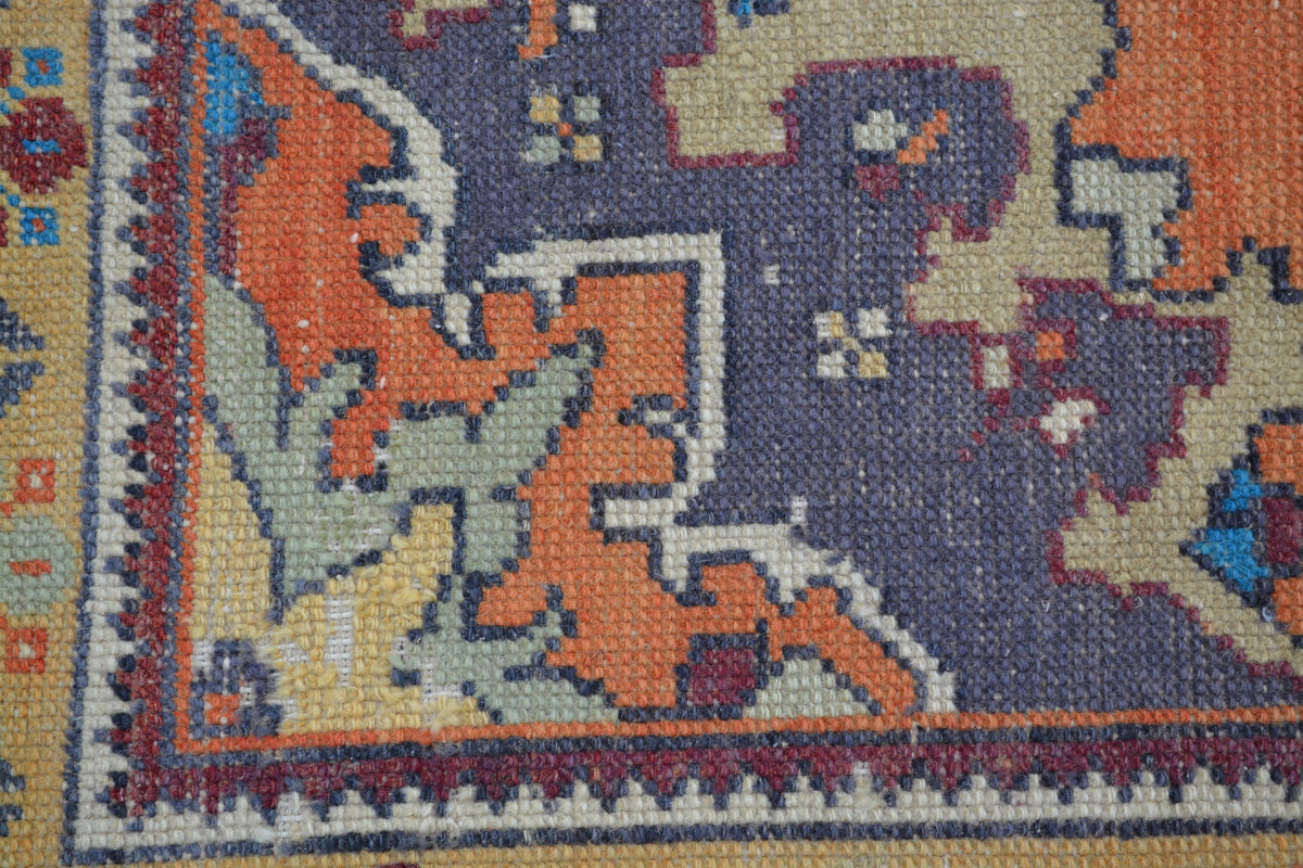 4 X 8 Embroidered Turkish Blue Antique Oriental Area Rug , Oushak  Decorative Rug,   4.2 x 7.8  Feet AG977